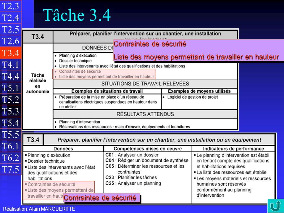T2.3 Tâche 3.4. T2.4. T2.5. T2.6. Contraintes de sécurité. Liste des moyens permettant de travailler en hauteur.