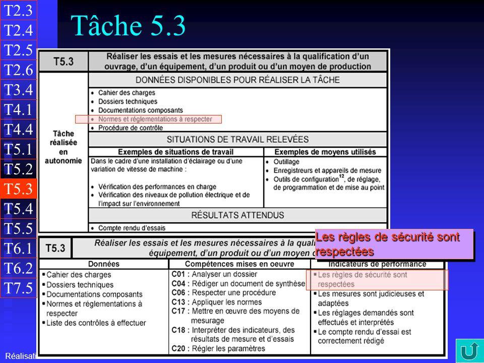 T2.3 Tâche 5.3. T2.4. T2.5. T2.6. T3.4. T4.1. T4.4. T5.1. T5.2. T5.3. T5.4. T5.5. Les règles de sécurité sont respectées.