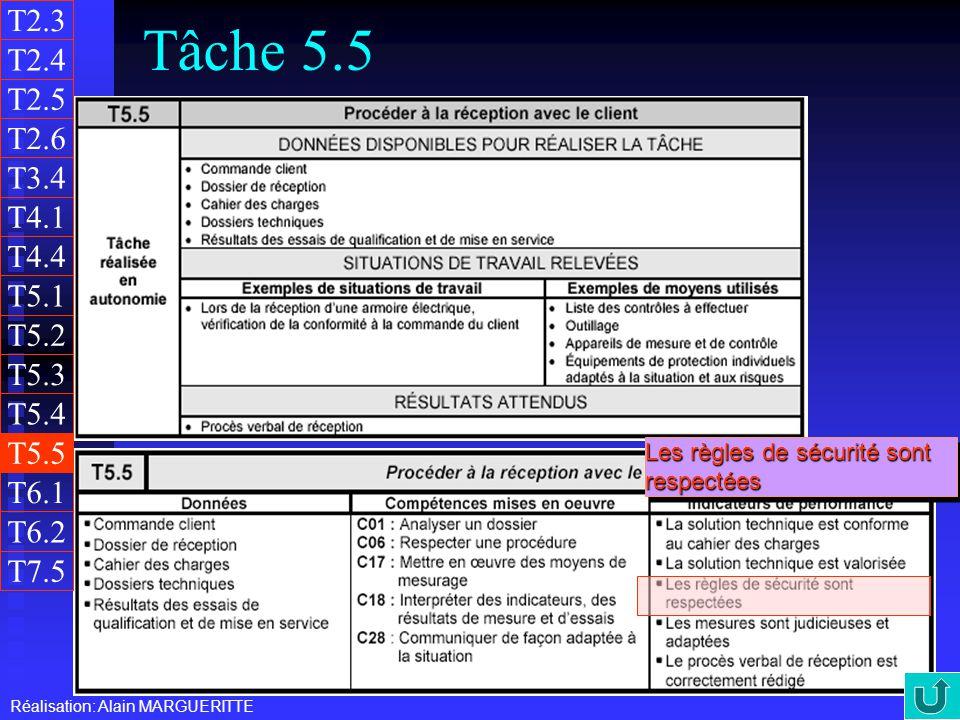 T2.3 Tâche 5.5. T2.4. T2.5. T2.6. T3.4. T4.1. T4.4. T5.1. T5.2. T5.3. T5.4. T5.5. Les règles de sécurité sont respectées.