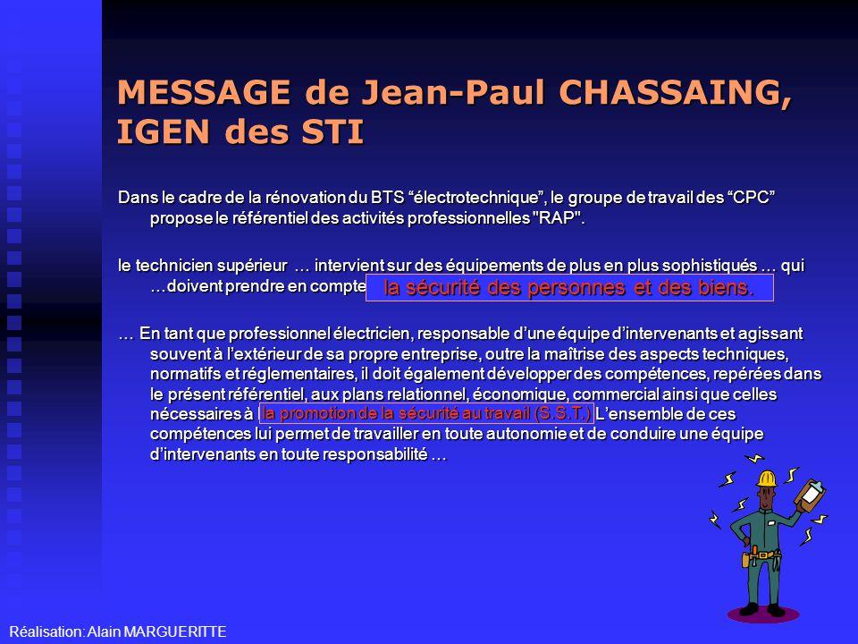 MESSAGE de Jean-Paul CHASSAING, IGEN des STI