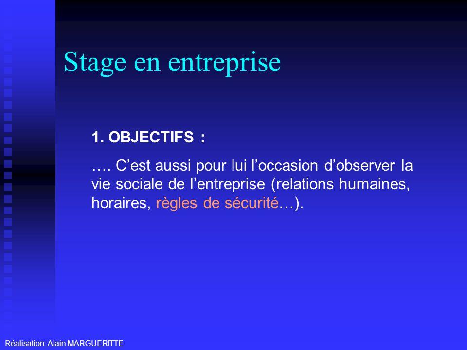Stage en entreprise 1. OBJECTIFS :