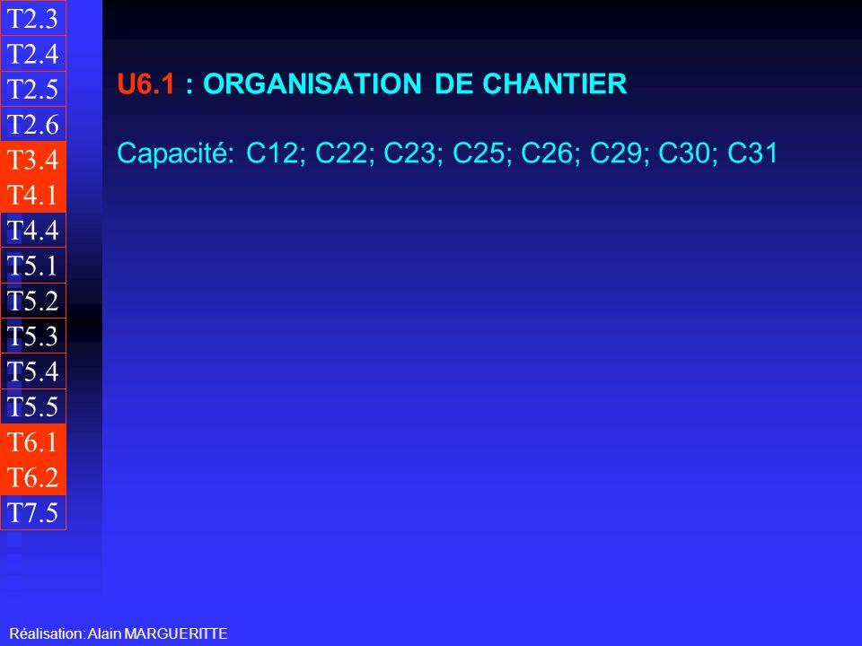 T2.3 T2.4. U6.1 : ORGANISATION DE CHANTIER Capacité: C12; C22; C23; C25; C26; C29; C30; C31. T2.5.