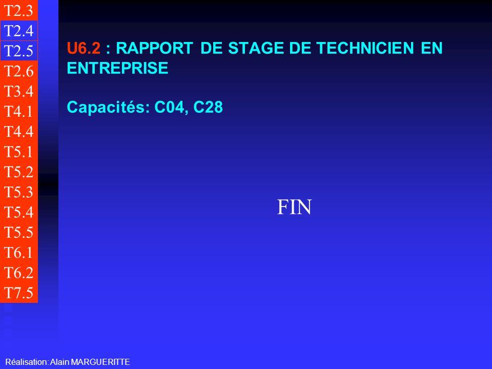 T2.3 T2.4. U6.2 : RAPPORT DE STAGE DE TECHNICIEN EN ENTREPRISE Capacités: C04, C28. T2.5. T2.6.