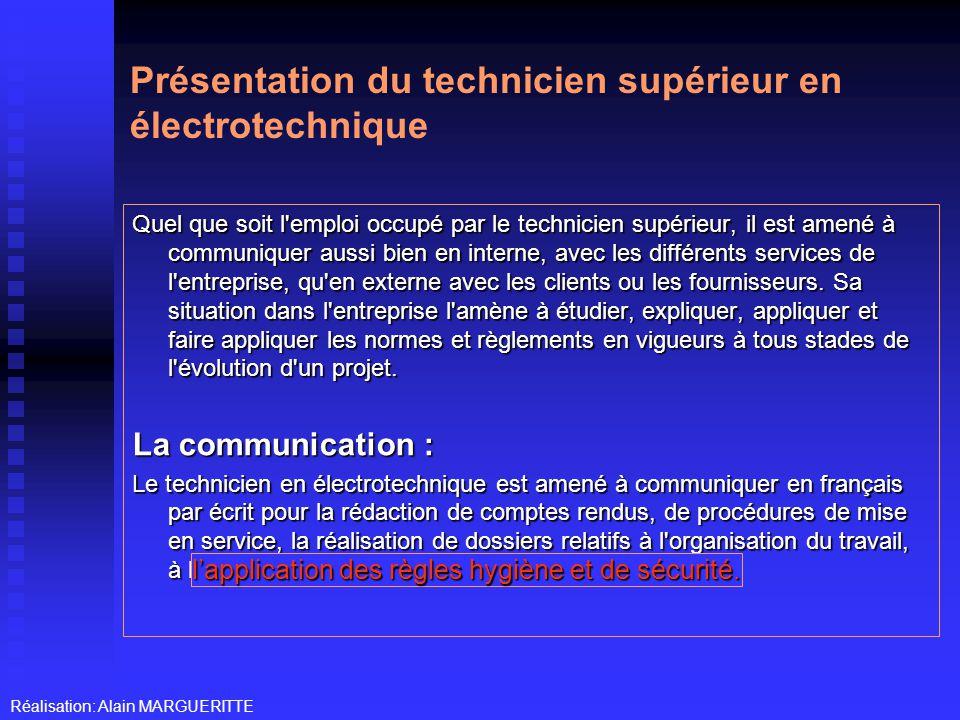 Présentation du technicien supérieur en électrotechnique