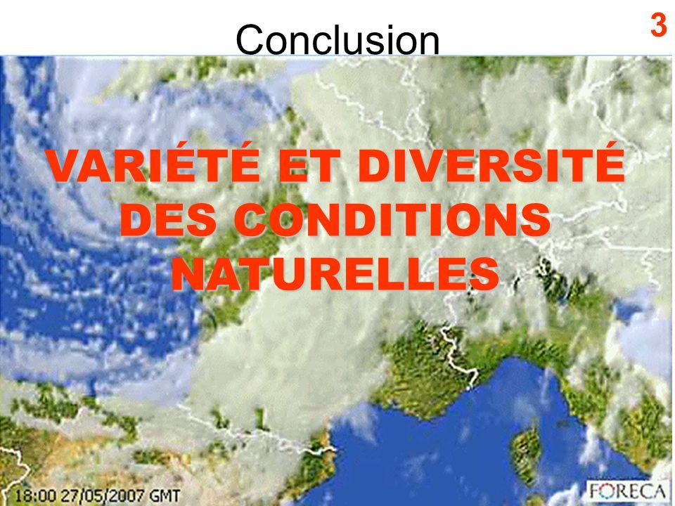 Conclusion 3 VARIÉTÉ ET DIVERSITÉ DES CONDITIONS NATURELLES