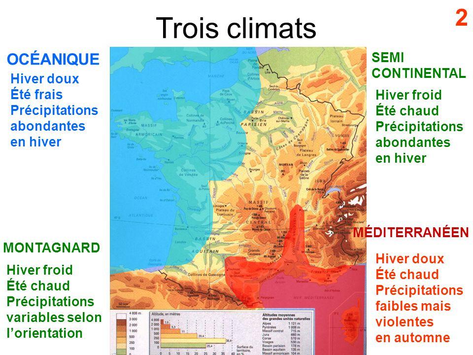 Trois climats 2 OCÉANIQUE SEMI CONTINENTAL Hiver doux Été frais