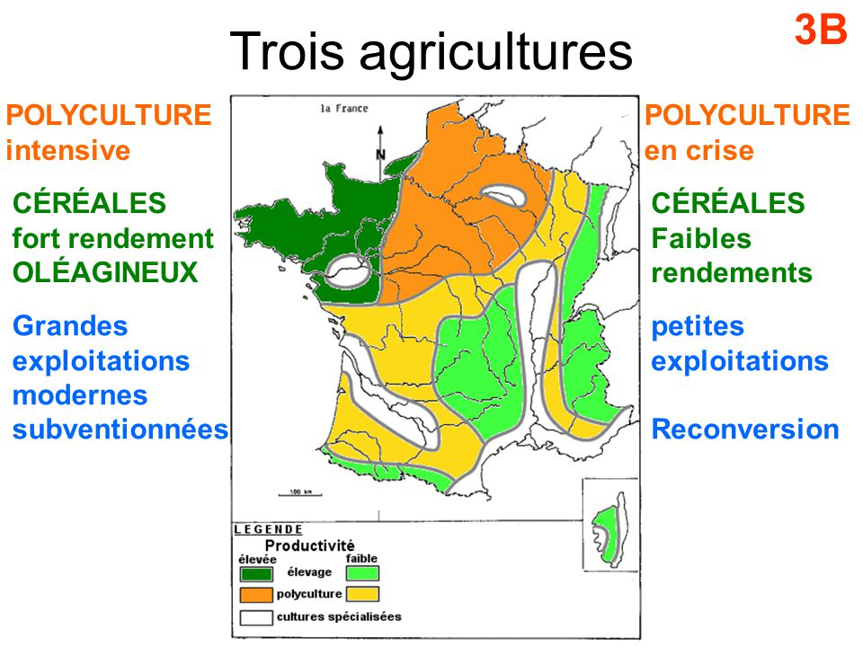 Trois agricultures 3B POLYCULTURE intensive POLYCULTURE en crise