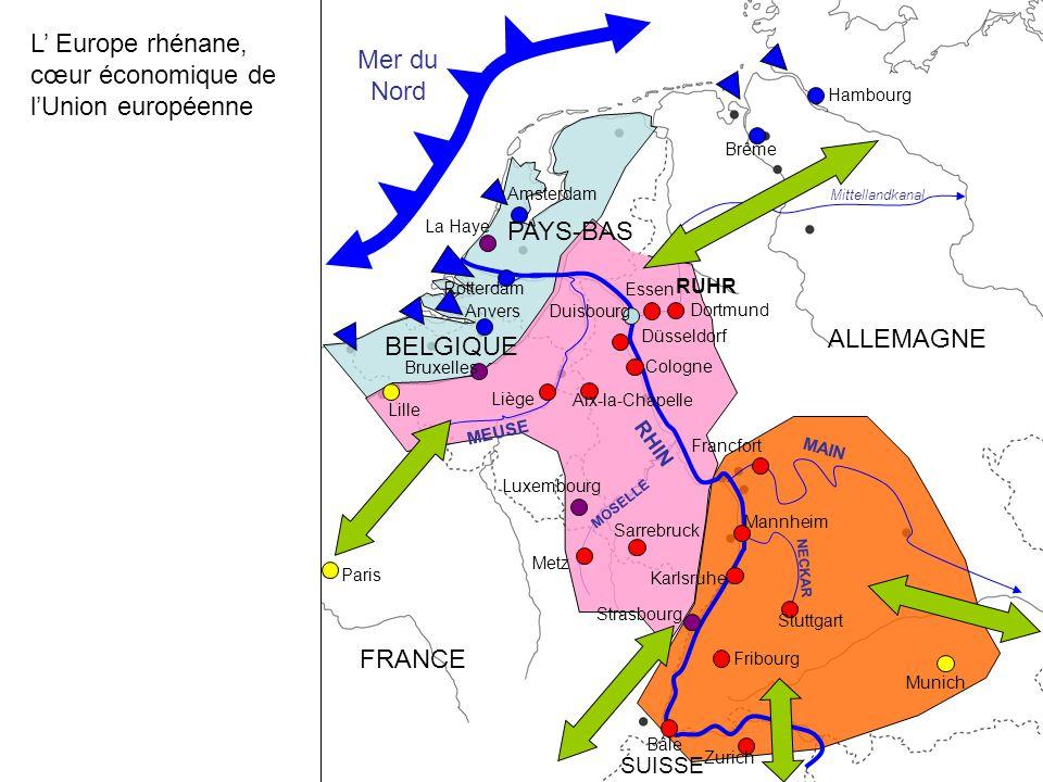 L' Europe rhénane, cœur économique de l'Union européenne Mer du Nord
