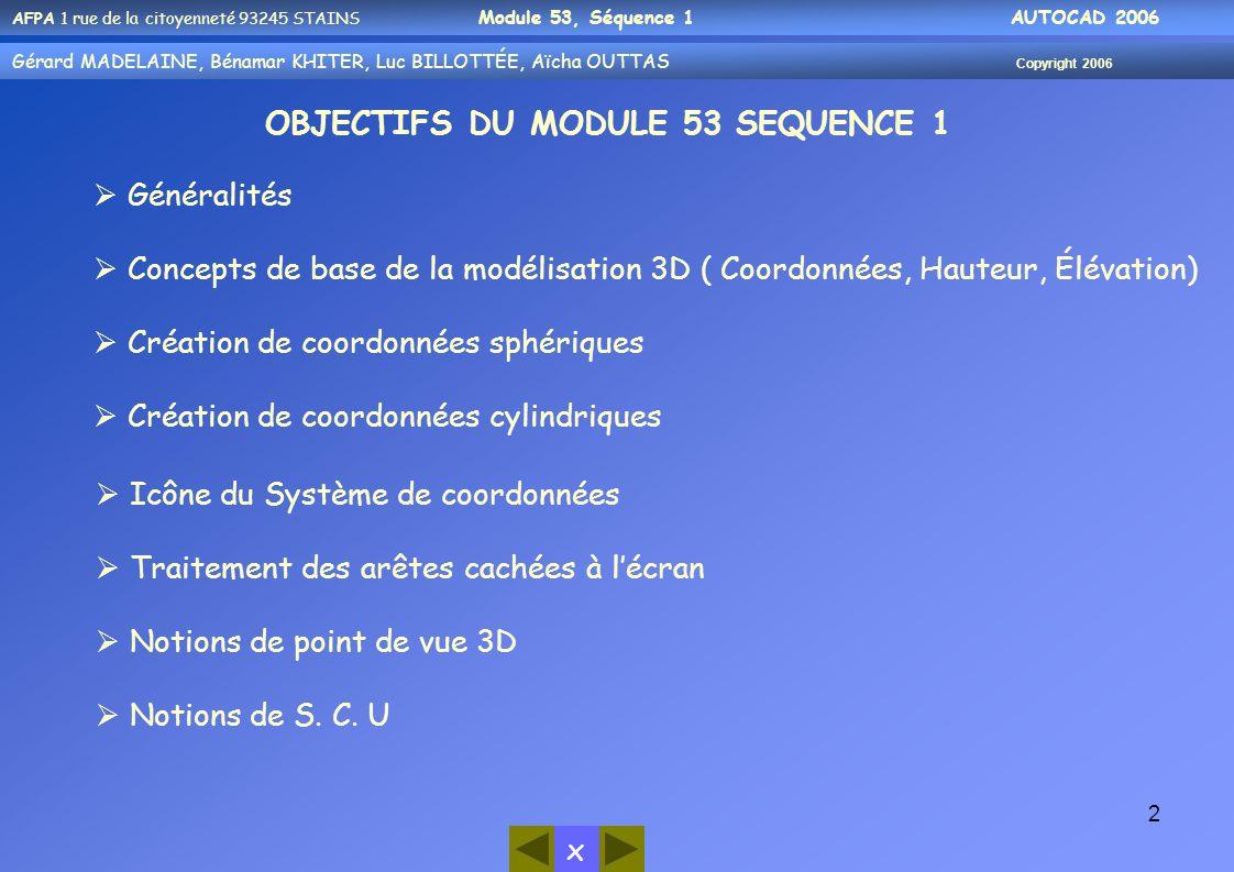 OBJECTIFS DU MODULE 53 SEQUENCE 1