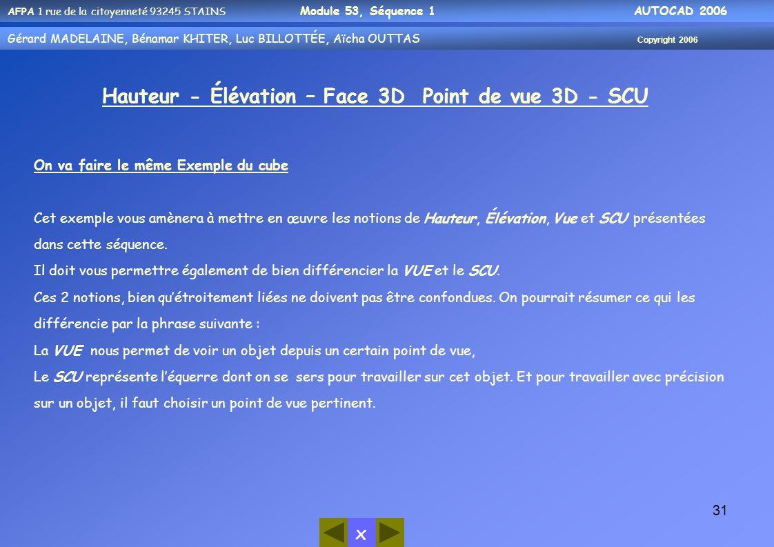 Hauteur - Élévation – Face 3D Point de vue 3D - SCU