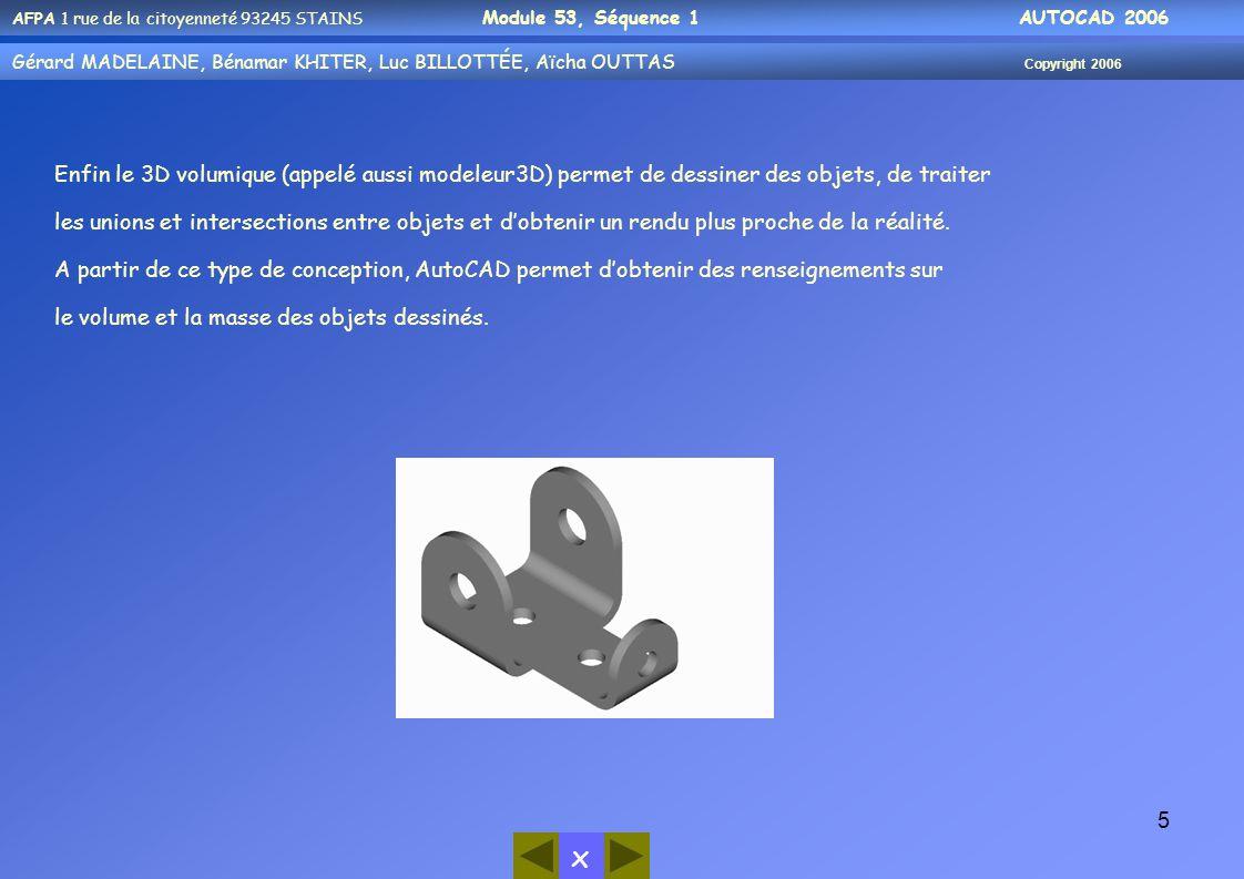 Enfin le 3D volumique (appelé aussi modeleur3D) permet de dessiner des objets, de traiter les unions et intersections entre objets et d'obtenir un rendu plus proche de la réalité.