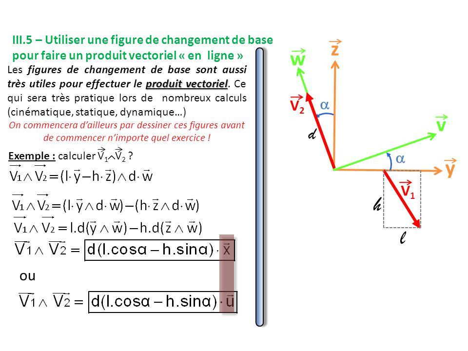 III.5 – Utiliser une figure de changement de base pour faire un produit vectoriel « en ligne »