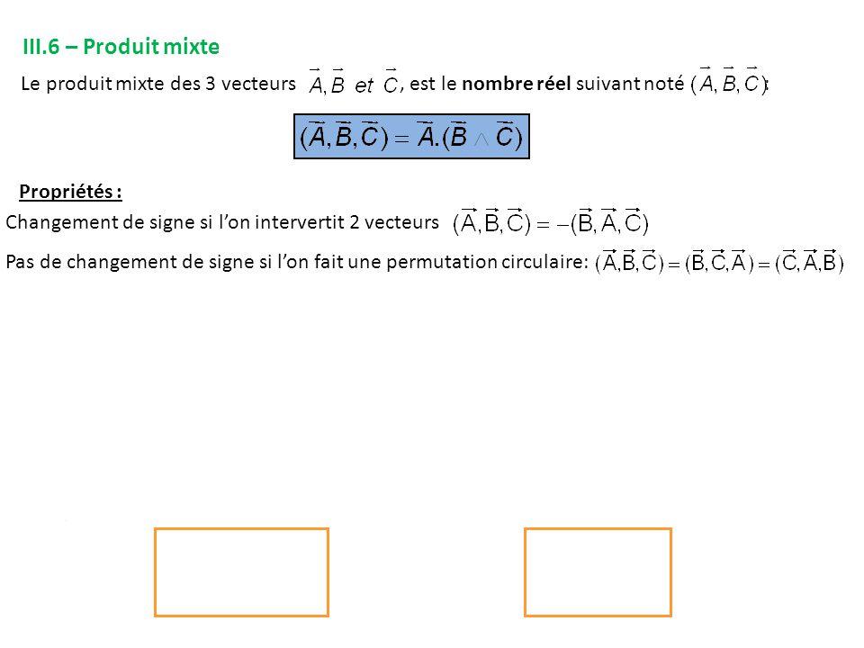 III.7 – Double produit vectoriel