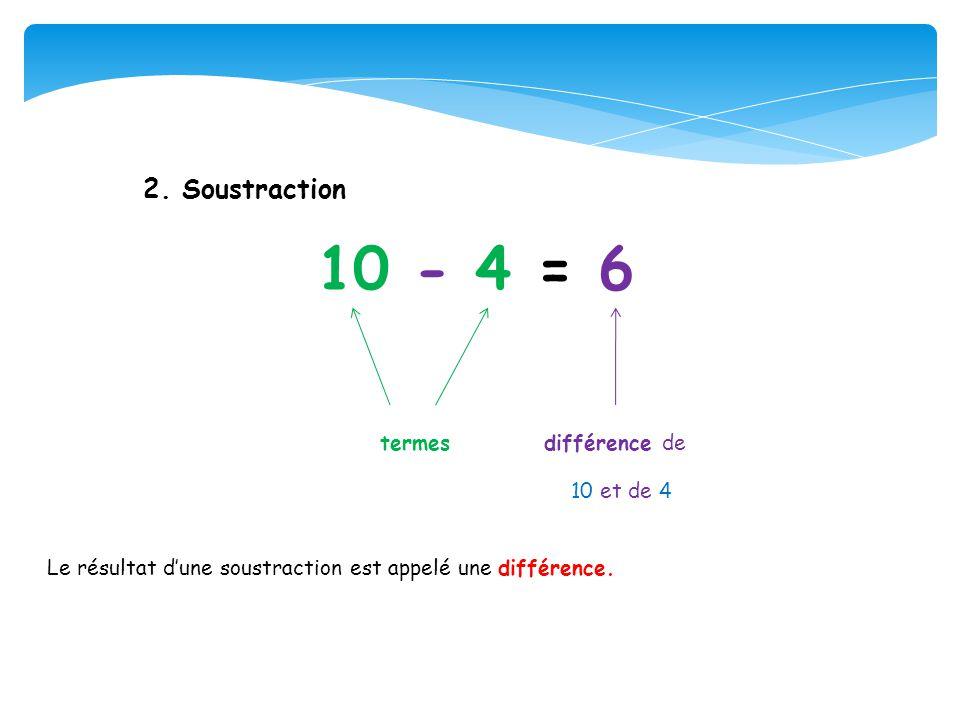 10 - 4 = 6 termes différence de 2. Soustraction 10 et de 4