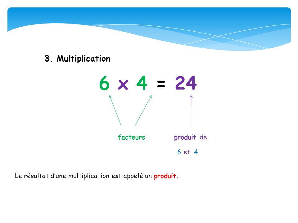 6 x 4 = 24 facteurs produit de 3. Multiplication 6 et 4