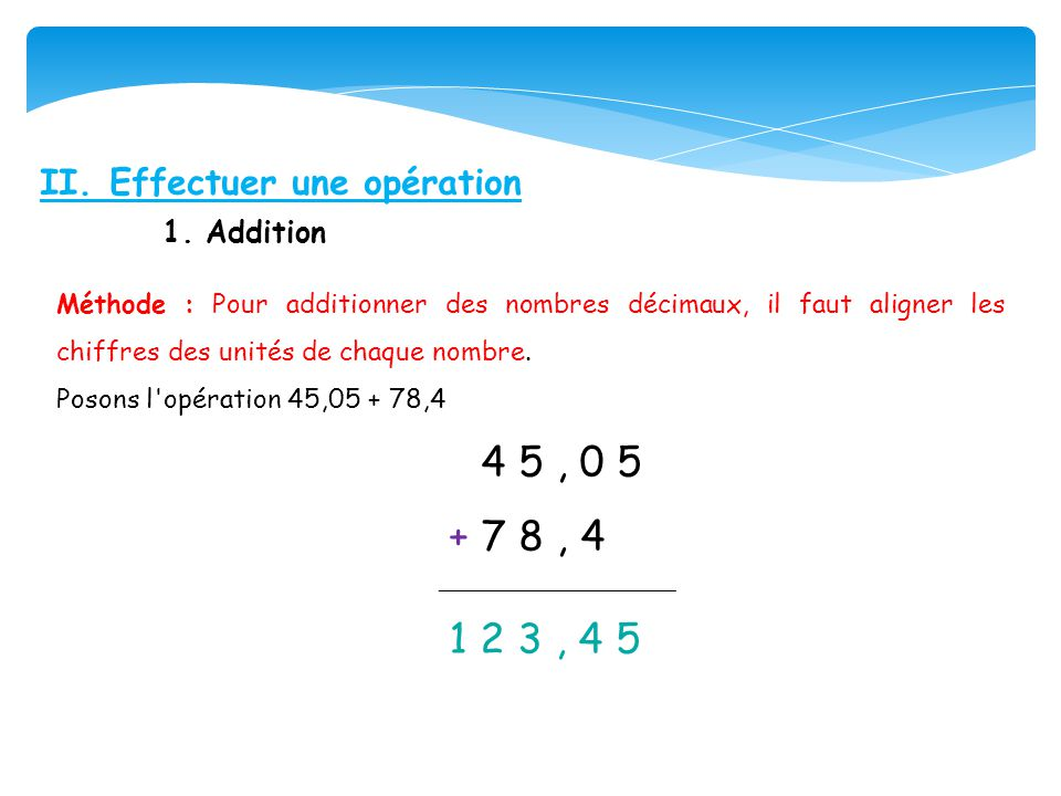 + 7 8 , 4 II. Effectuer une opération 1. Addition