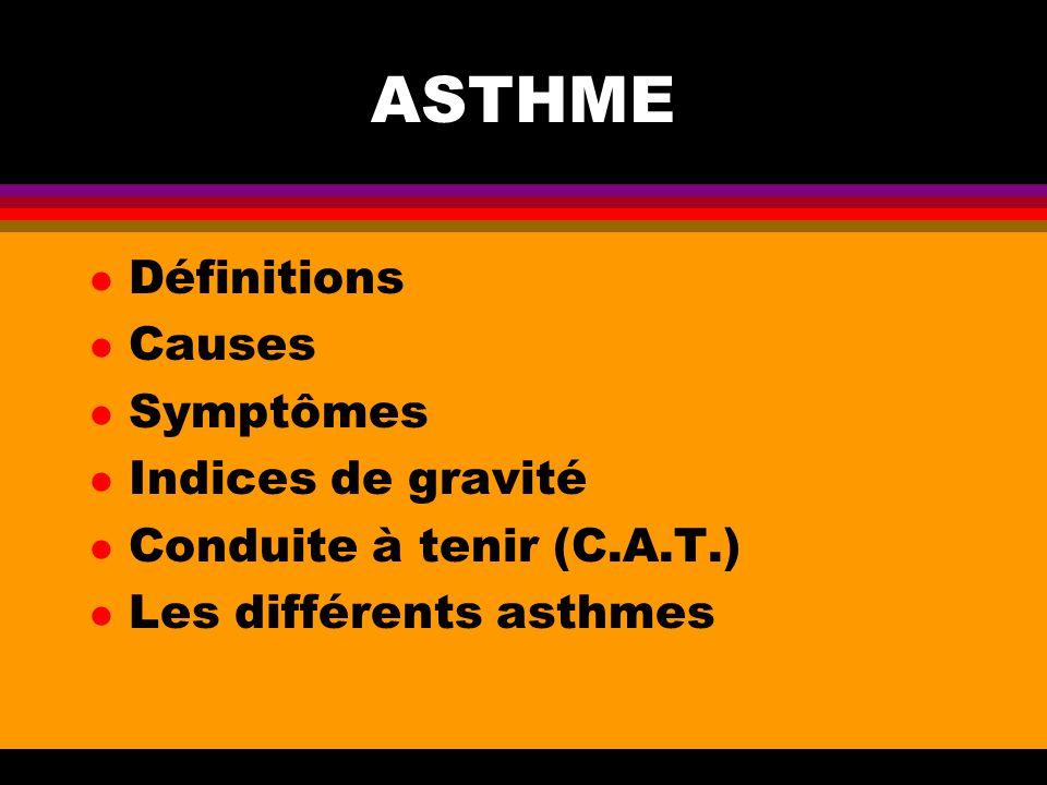 ASTHME Définitions Causes Symptômes Indices de gravité
