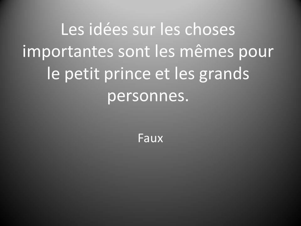 Les idées sur les choses importantes sont les mêmes pour le petit prince et les grands personnes.