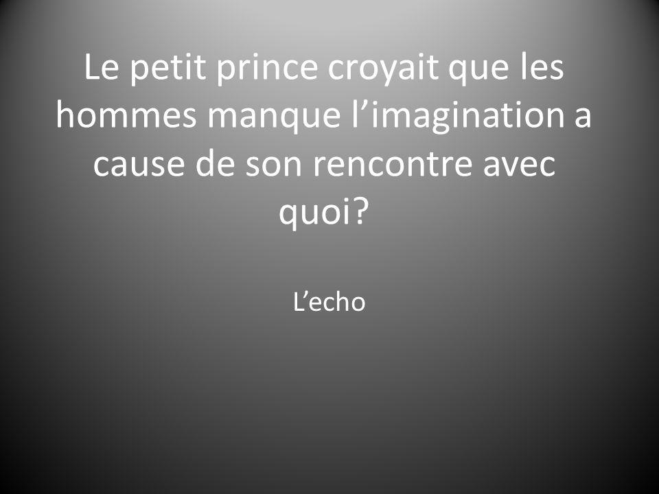 Le petit prince croyait que les hommes manque l'imagination a cause de son rencontre avec quoi