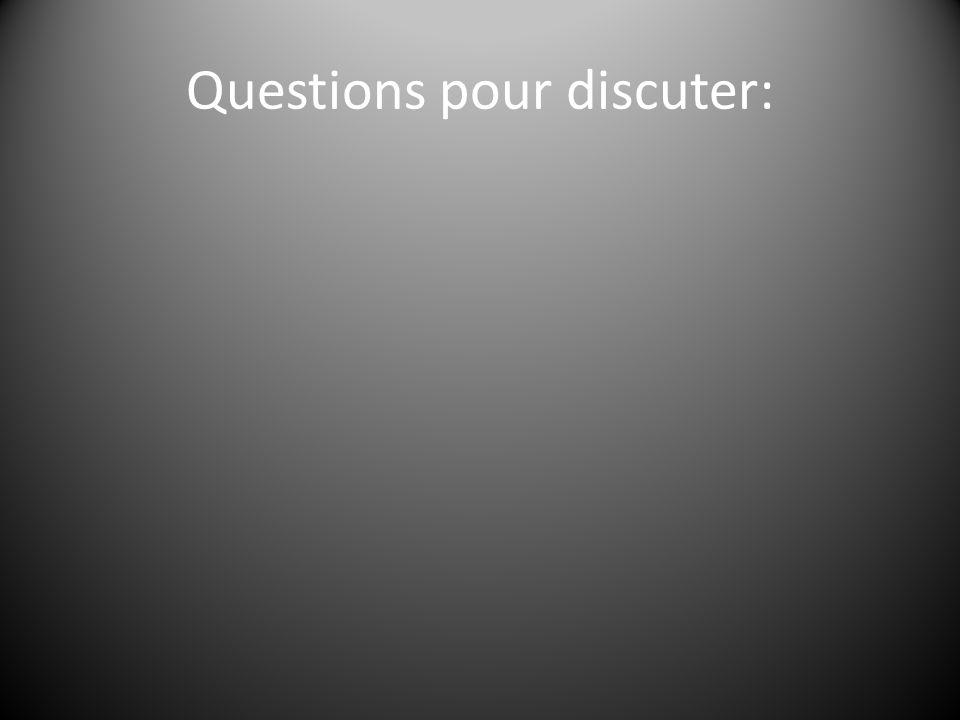 Questions pour discuter: