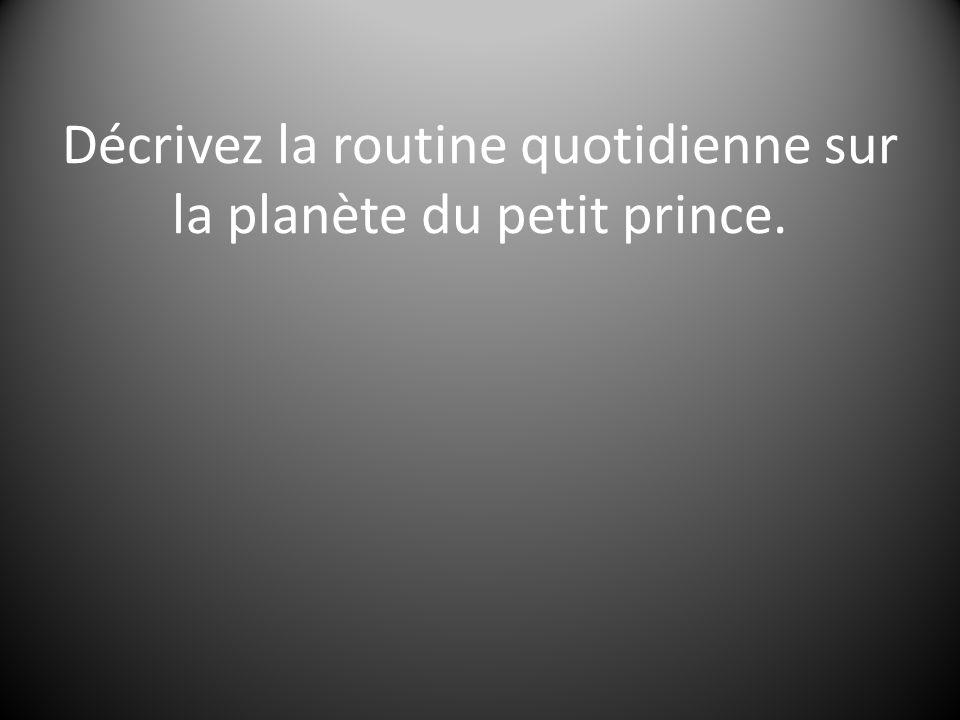 Décrivez la routine quotidienne sur la planète du petit prince.