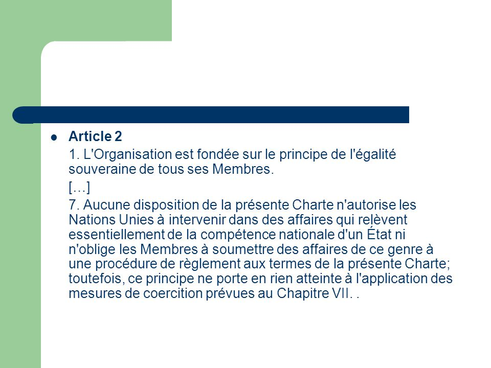article Two paragraphe 7 charte countries unies