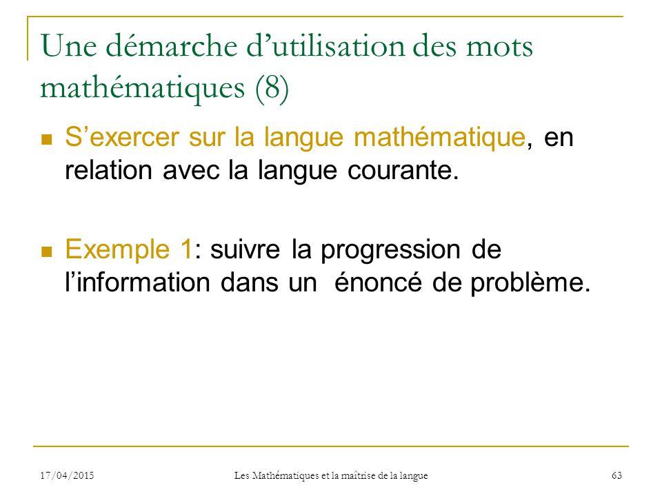 les math u00e9matiques et la ma u00eetrise de la langue