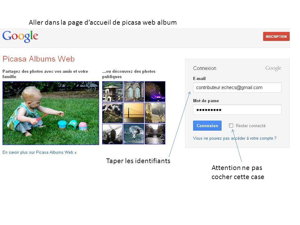 Aller dans la page d'accueil de picasa web album