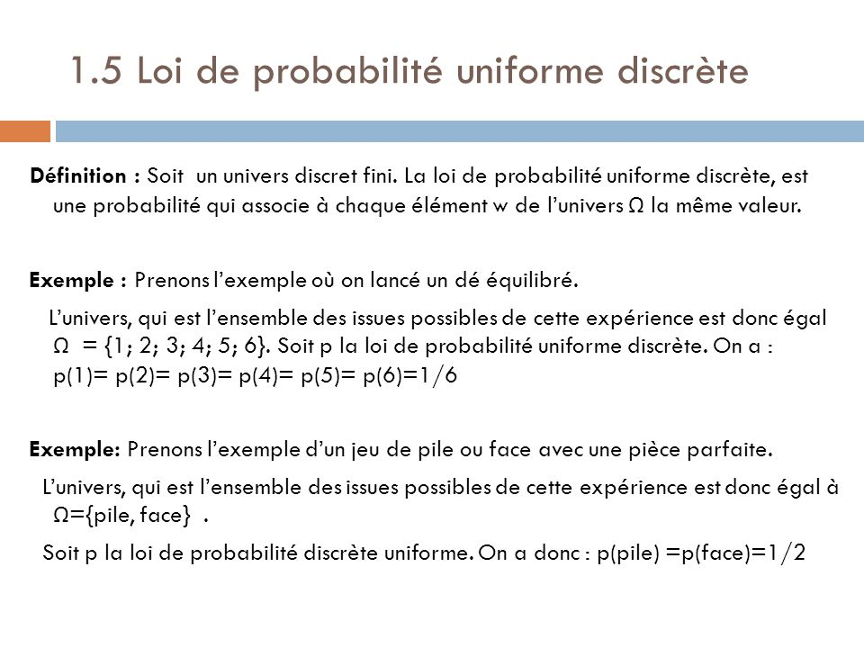 Probabilit s ppt t l charger for Loi uniforme