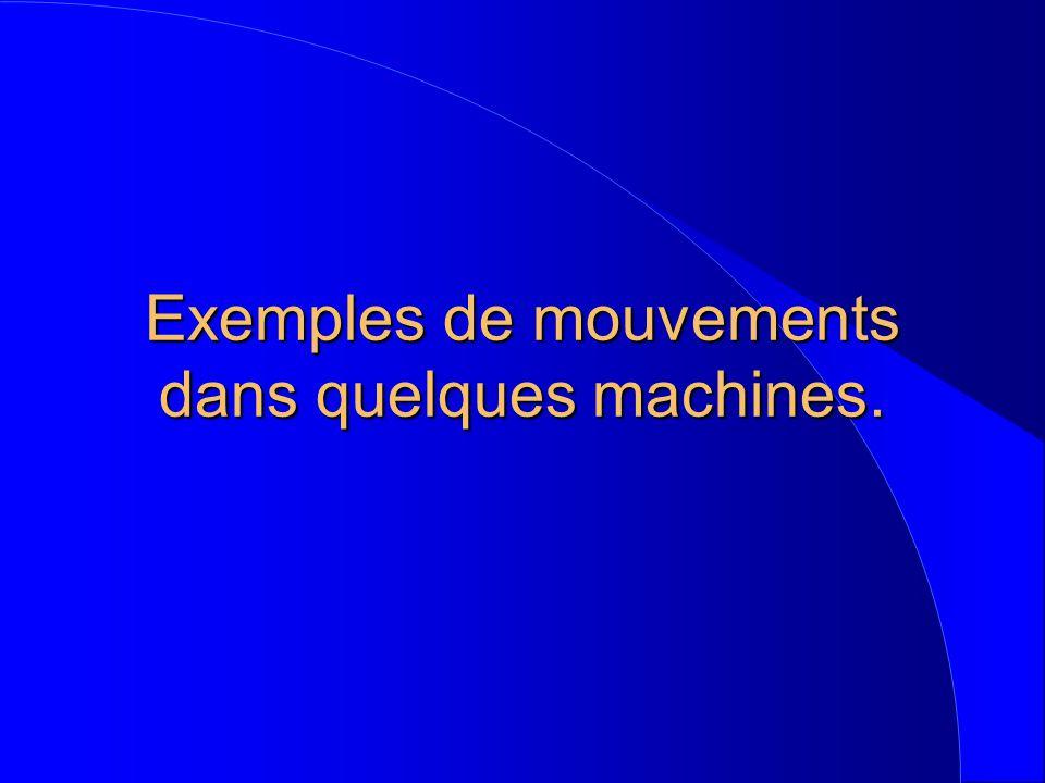 Exemples de mouvements dans quelques machines.