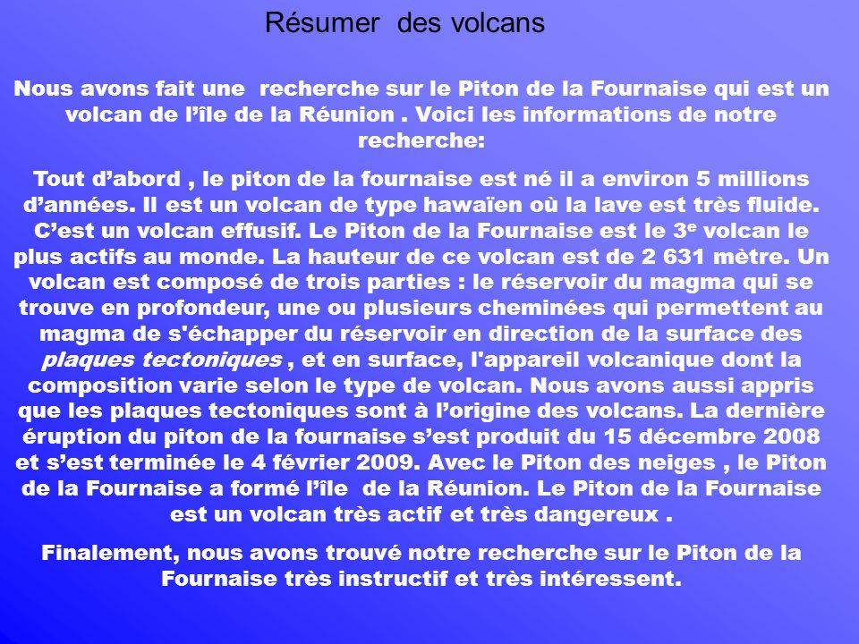 Résumer des volcans