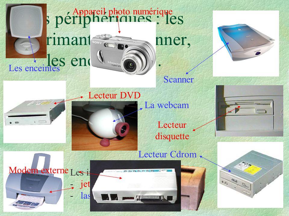 Les périphériques : les imprimantes, le scanner, les enceintes, …