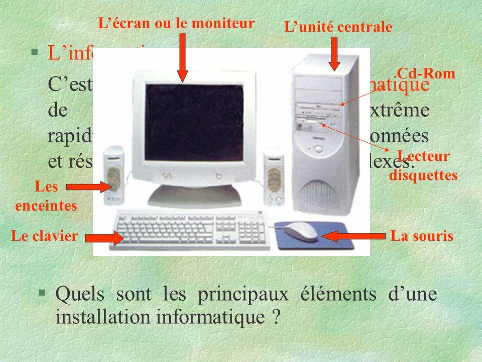 Quels sont les principaux éléments d'une installation informatique