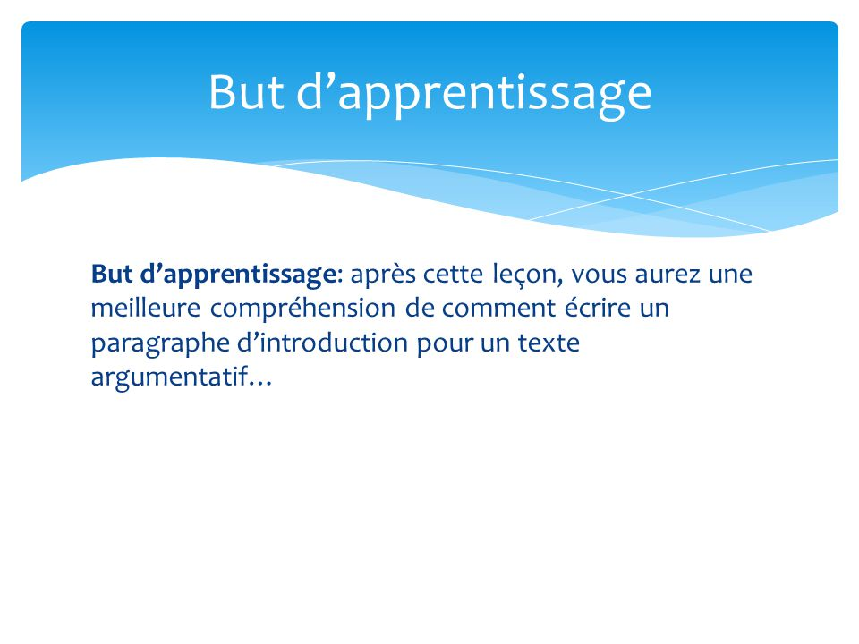 But d'apprentissage