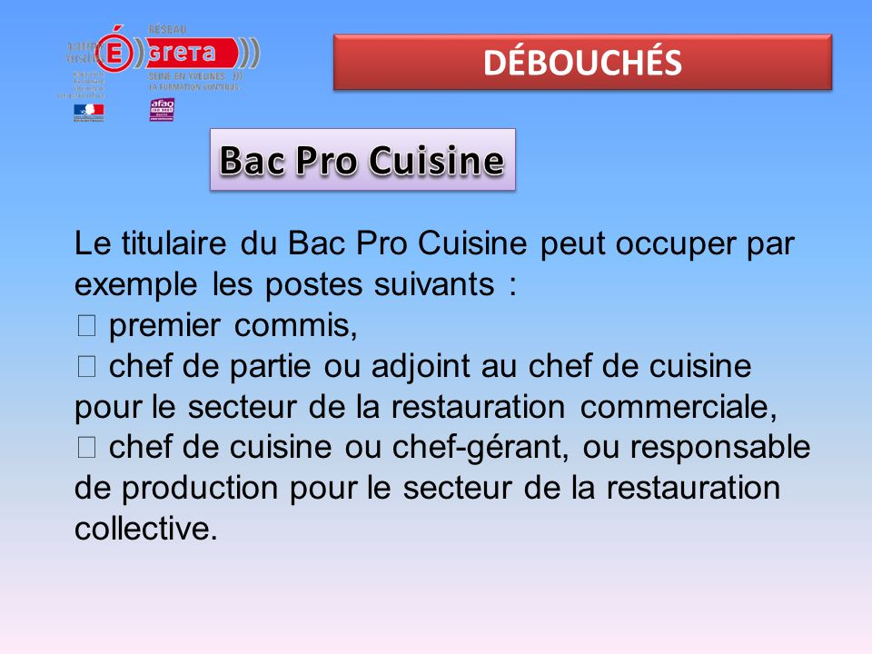 Bac pro cuisine et csr ppt video online t l charger for Responsable de cuisine collective