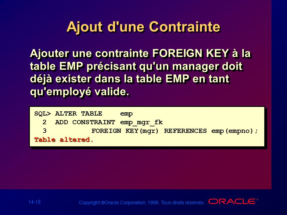 Les contraintes ppt t l charger - Alter table add constraint primary key ...