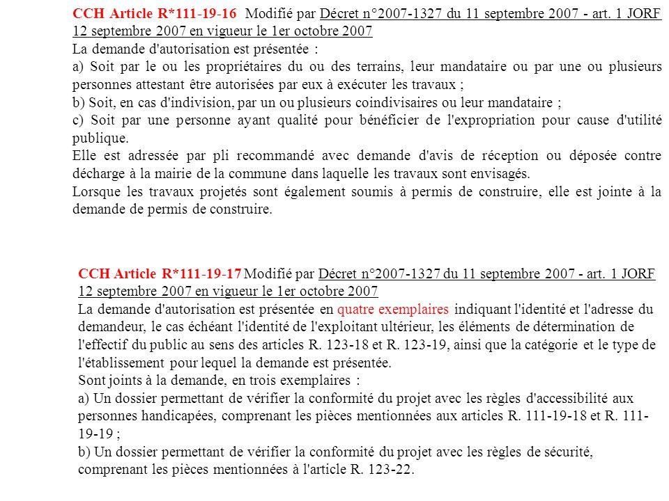 CCH Article R*111-19-16 Modifié par Décret n°2007-1327 du 11 ...