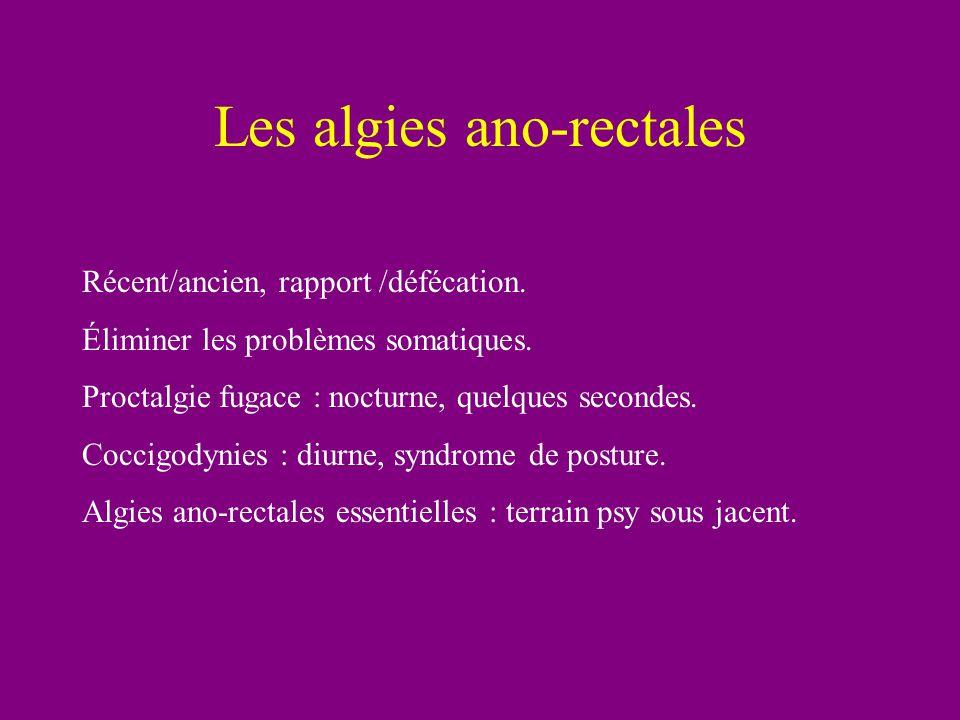 Les algies ano-rectales