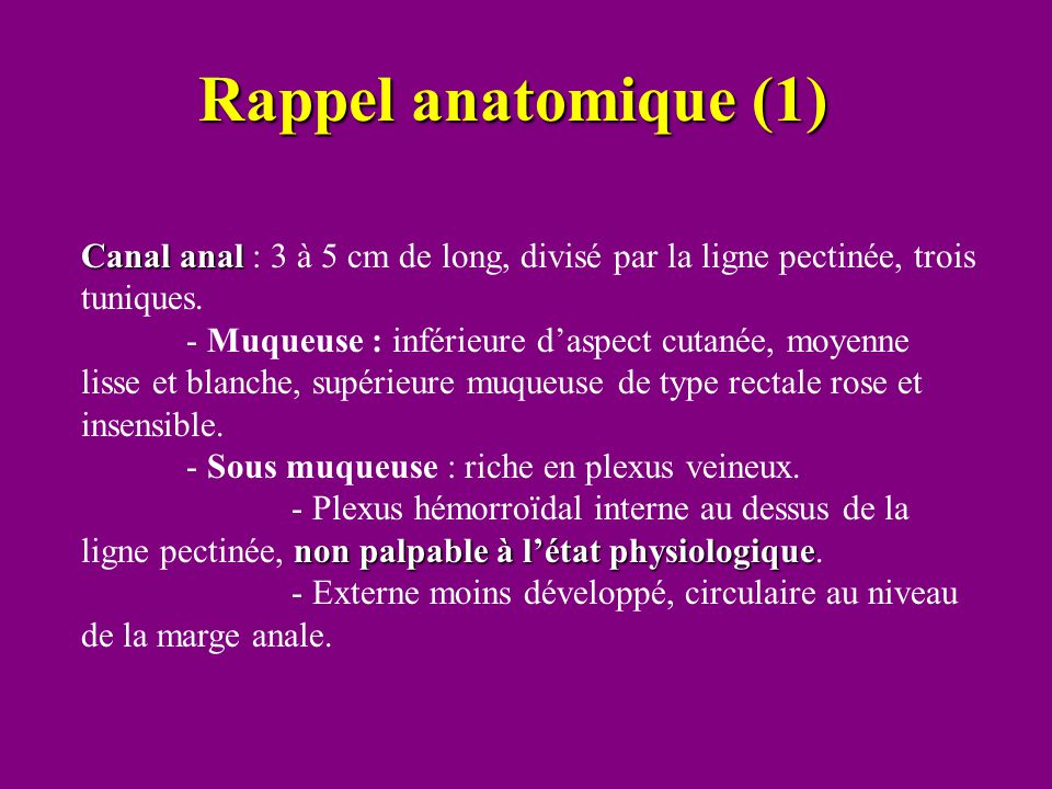 Rappel anatomique (1) Canal anal : 3 à 5 cm de long, divisé par la ligne pectinée, trois tuniques.