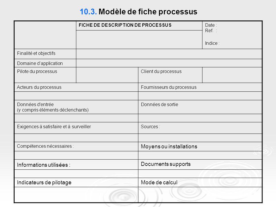 10.3. Modèle de fiche processus