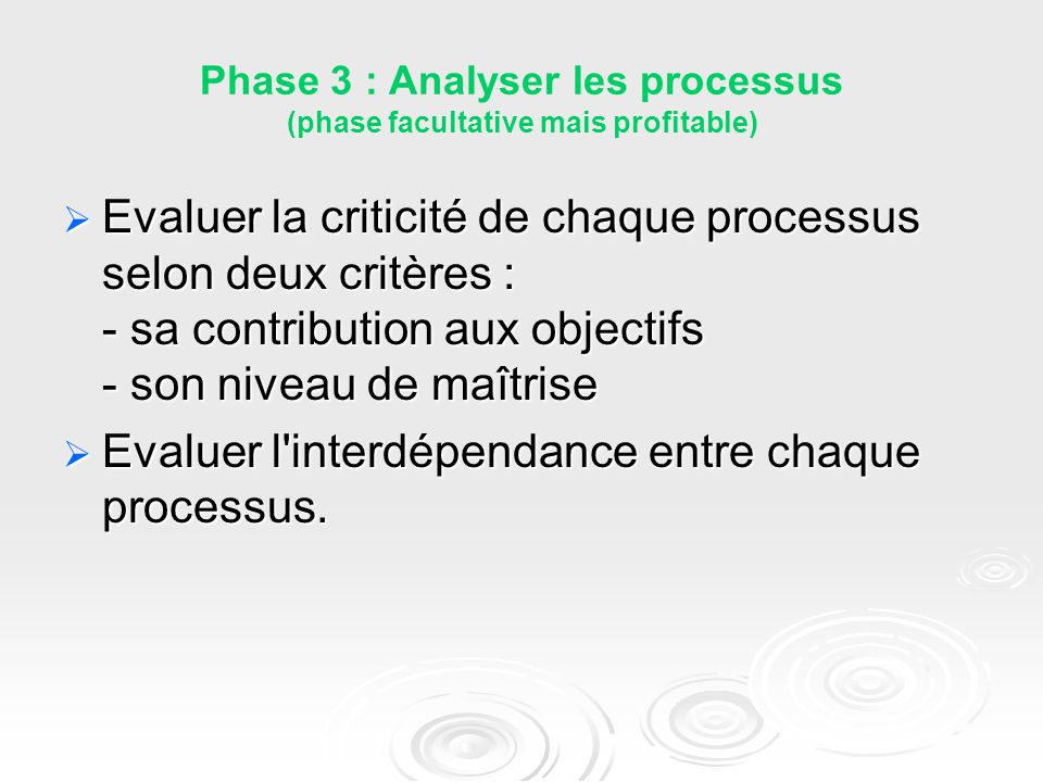 Phase 3 : Analyser les processus (phase facultative mais profitable)