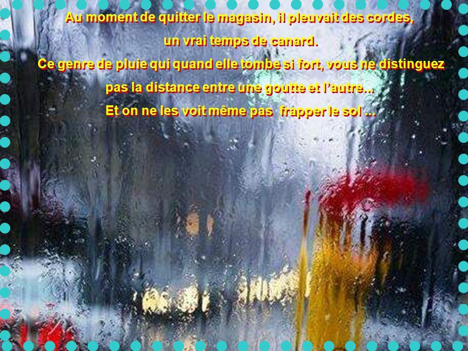 Au moment de quitter le magasin, il pleuvait des cordes,