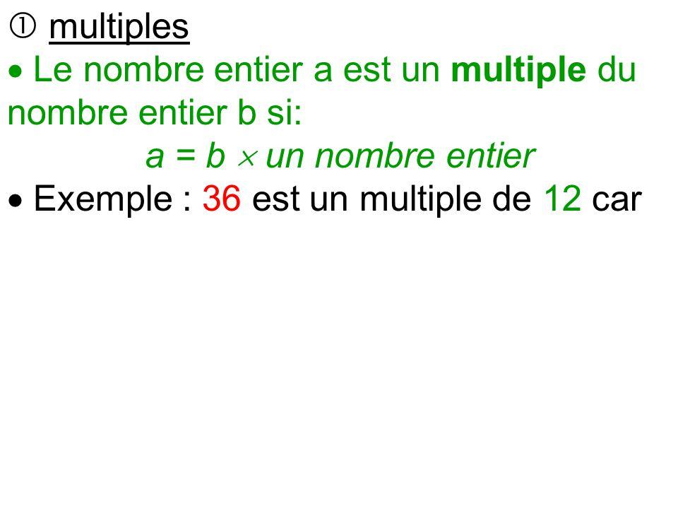 Chapitre 3 fractions a multiples et diviseurs rappels for Les multiples de 6