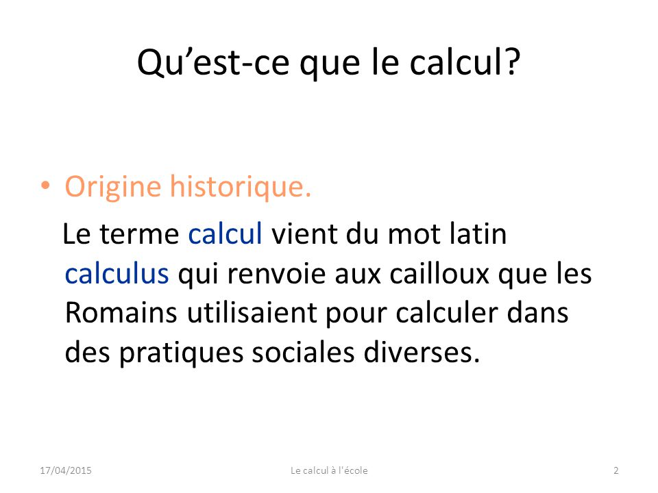 le calcul mental au quotidien