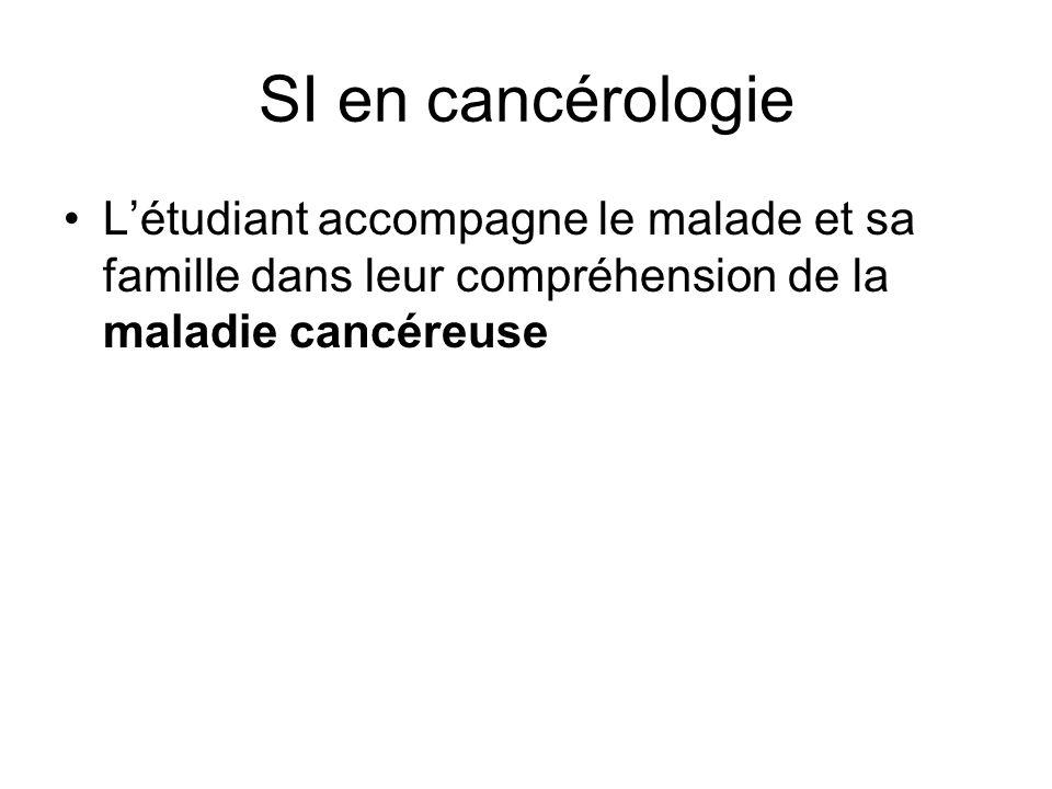 SI en cancérologie L'étudiant accompagne le malade et sa famille dans leur compréhension de la maladie cancéreuse.