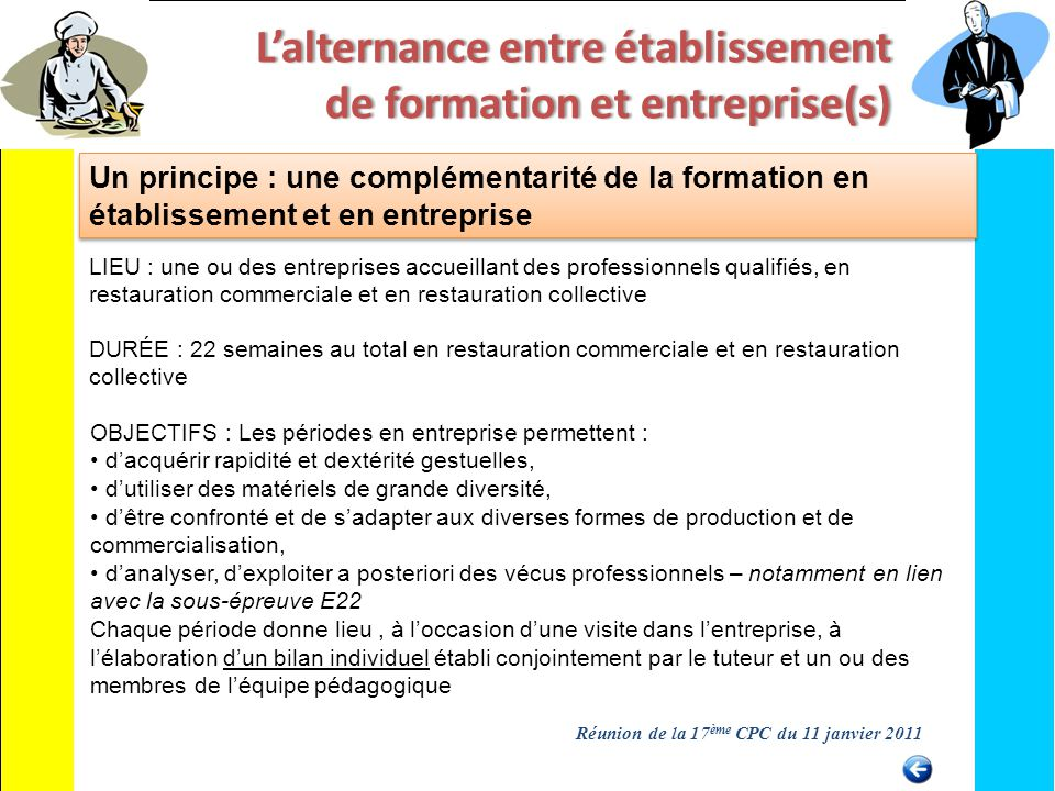 La r novation des deux baccalaur ats professionnels ppt for Alternance restauration collective