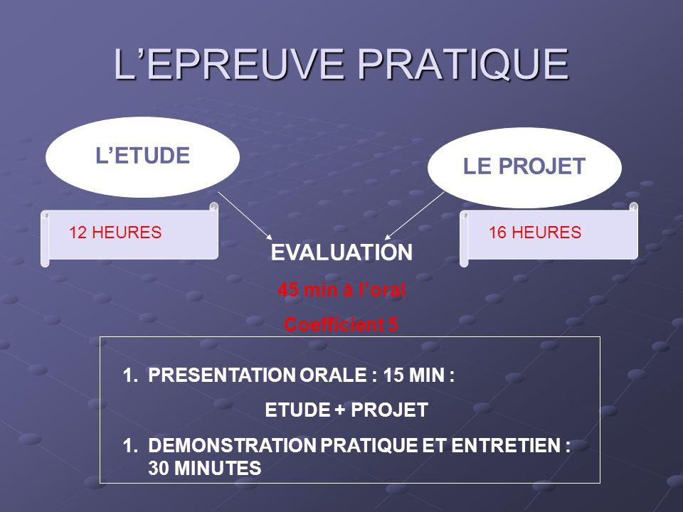 L'EPREUVE PRATIQUE L'ETUDE LE PROJET EVALUATION 45 min à l'oral