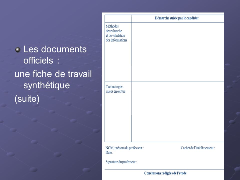 Les documents officiels :