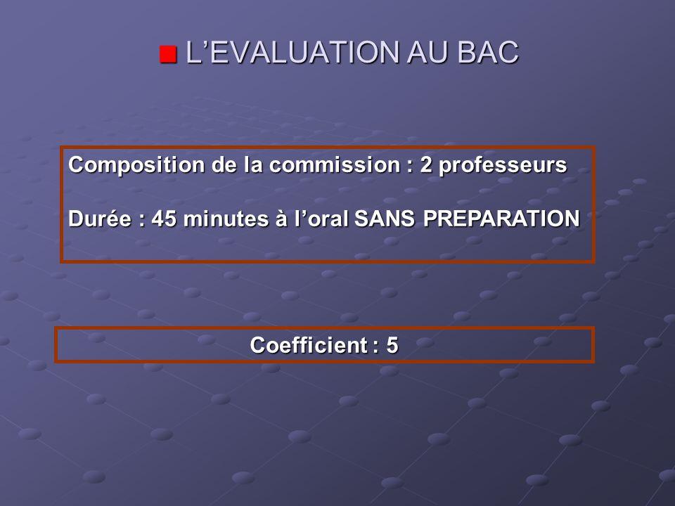 L'EVALUATION AU BAC Composition de la commission : 2 professeurs