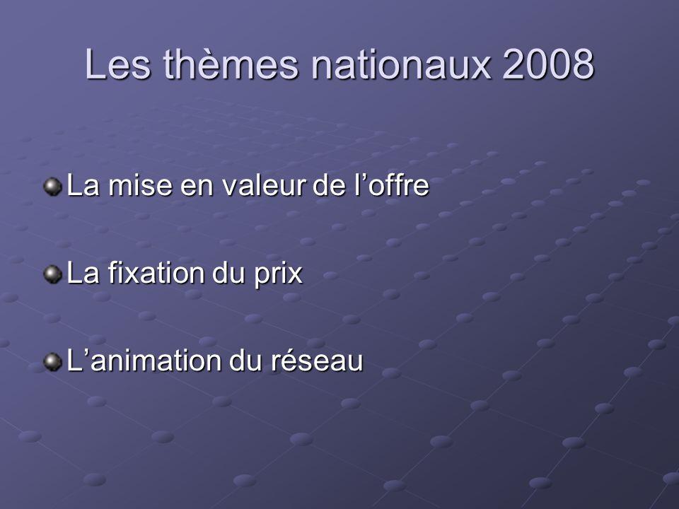 Les thèmes nationaux 2008 La mise en valeur de l'offre
